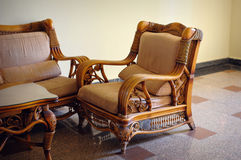 Wicker furniture chair in the interior Royalty Free Stock Photo