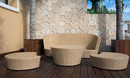 Wicker Furniture at Luxury Resort Stock Photography