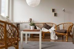 Wicker furniture set. Photo of decorative wicker furniture set in lounge stock photos