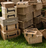Wicker hampers and picnic baskets Stock Image