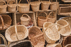 Wicker hand-made baskets at the shop of a touristic street Stock Photography