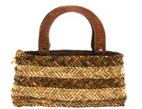 Wicker handbag isolated on whi Royalty Free Stock Photography