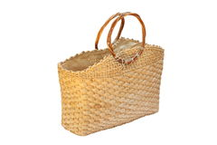Wicker handbag over white Royalty Free Stock Images