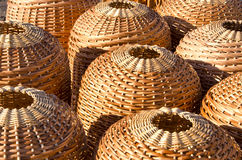 Wicker handmade wooden basket sell street market Royalty Free Stock Image