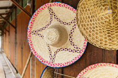 Wicker hat for sell Royalty Free Stock Photo
