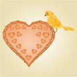 Wicker heart and  bird vector Stock Photos