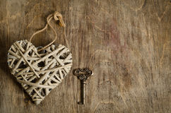 Wicker heart handmade with the key Royalty Free Stock Photography