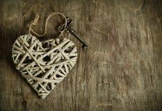 Free Wicker Heart Handmade With The Key Royalty Free Stock Photos - 50002378