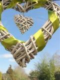 Wicker heart. Wicker wood heart Royalty Free Stock Images