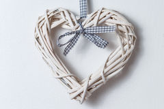 Wicker hearts with ribbon Royalty Free Stock Images