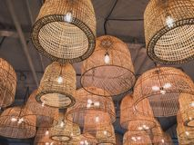 Wicker lamps royalty free stock photography