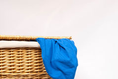 Wicker Laundry Basket Stock Photo