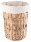 Wicker laundry basket. On white background Stock Photography
