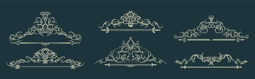 Wicker lines and old decor elements in vector. Royalty Free Stock Photo