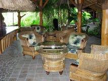 Wicker lobby furniture with Polynesian fabric Bora Bora resort royalty free stock photos