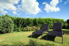 Wicker Lounge Chairs Royalty Free Stock Photography