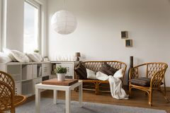 Wicker loveseat and chairs Stock Photography