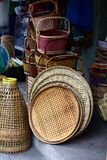 Wicker market Rattan basket.Rattan or bamboo handicraft hand made from natural straw basket. royalty free stock photography