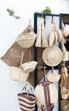 Wicker objects. Several objects made ​​of wicker handicrafts displayed in a shop Royalty Free Stock Image