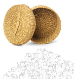 Wicker opened Basket Isolated on White Background with an elemen Stock Photo