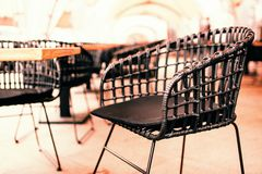 Wicker outdoor chair royalty free stock photo