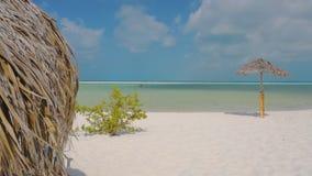 Wicker parasol on beach at water's edge. Wicker parasol with kid's legs under it on beach at water's edge, Cuba, Cayo Largo stock video footage