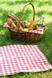 Wicker picnic basket with food and red tablecloth on the grass. Wicker picnic basket with food and red checkered tablecloth on the grass in a park. Summer picnic stock image