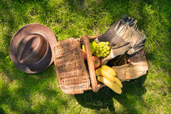 Wicker picnic basket with fruits and wine bottle on green grass at daytime. Top view of wicker picnic basket with fruits and wine bottle on green grass at Stock Images