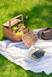 Wicker picnic basket with fruits and wine, hat and notebook with pencil Royalty Free Stock Photography