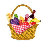 WIcker picnic basket. With gingham blanket full of products. Bottle of wine, sausage, bacon, cheese, apple, tomato, cucumber. Vector illustration in flat style vector illustration