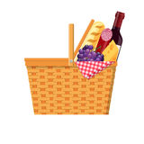 WIcker picnic basket Royalty Free Stock Images