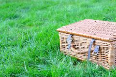 Wicker picnic basket. On the grass in the garden Royalty Free Stock Images