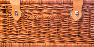 Wicker Picnic Basket III. Handmade wicker picnic basket over white background Stock Photos