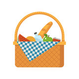 Wicker Picnic Basket. Vector illustration. Opened food hamper bag vector illustration royalty free illustration