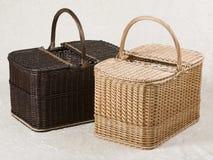 Wicker picnic baskets Stock Photos