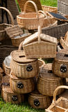 Wicker picninc baskets and hampers Royalty Free Stock Photo