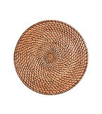 Wicker placemat surface top view texture Isolated on white Stock Photos