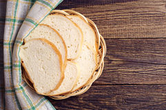 Wicker plate with slices white bread Stock Image
