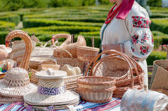 Wicker products, sale, fair on the square Royalty Free Stock Photo