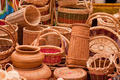 Wicker products at the street market. In Kota Kinabalu, Borneo Royalty Free Stock Photos