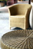 Wicker rattan chair and table Royalty Free Stock Images