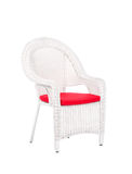 Wicker rattan chair, on a white background. White wicker rattan chair, on a white background stock images