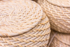 Wicker rattan product and baskets Royalty Free Stock Images