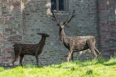 Wicker red Stags by Scone Castle. Red stags made from wicker on Scone castle grounds Stock Photos