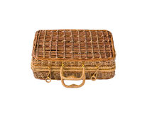 Wicker retro suitcase stock photos