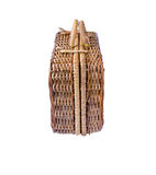 Wicker retro suitcase stock image