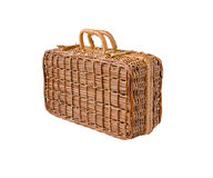 Wicker retro suitcase stock photography