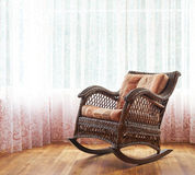 Wicker rocking chair composition Royalty Free Stock Image