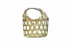 Wicker round bamboo basket Stock Image