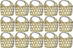 Wicker round bamboo basket Stock Photo